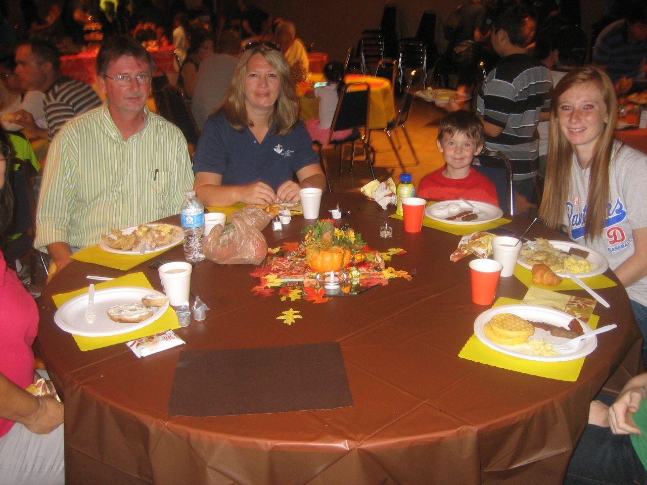MIke Moloughney and familiy enjoying breakfast
