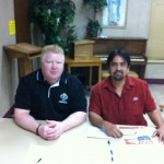 Trustee Andy Goza and Awareness committee director Jorge Ruiz