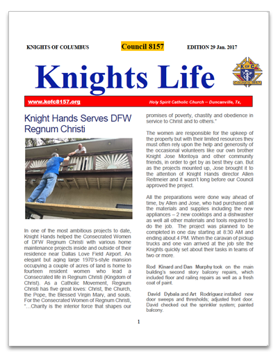 Knights Life Newsletter January 2017