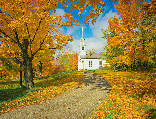 Autumn Sugar Maples And Country Church