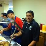 Daniel Rosales at the serving line